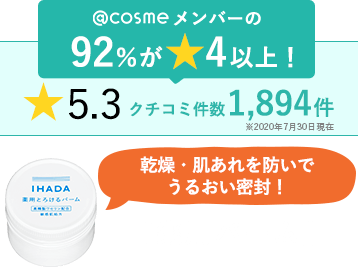 @cosmeメンバーの92%が★4以上! ★5.3 クチコミ件数1,894件 ※2020年7月30日現在 乾燥・肌あれを防いでうるおい密封! 『薬用バーム』